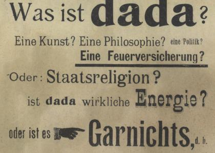 "Raoul Hausmann, ""Was ist dada?,"" in Der Dada no. 2, Berlin, December 1919"
